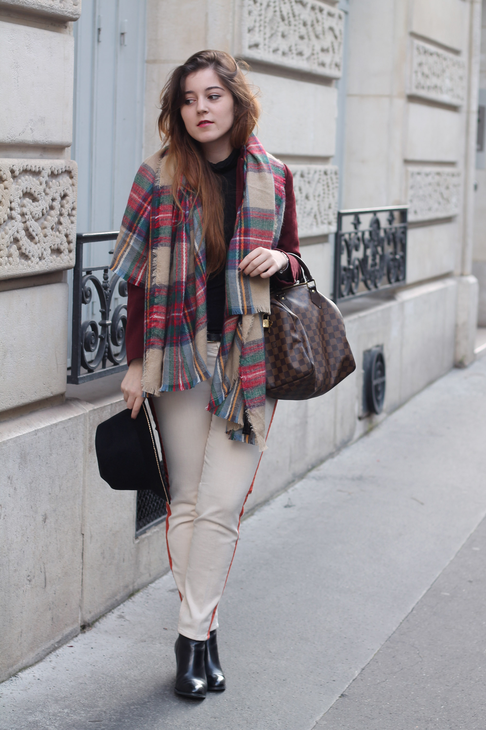Tendance echarpe plaid elodie in paris - Grosse echarpe plaid ...
