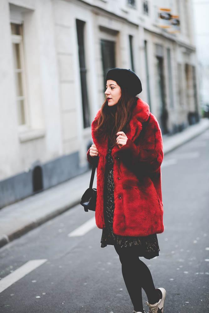 red fake fur
